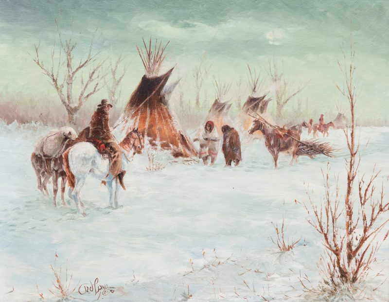 Lot 404: Ted Long, O/B, Indian Winter Scene