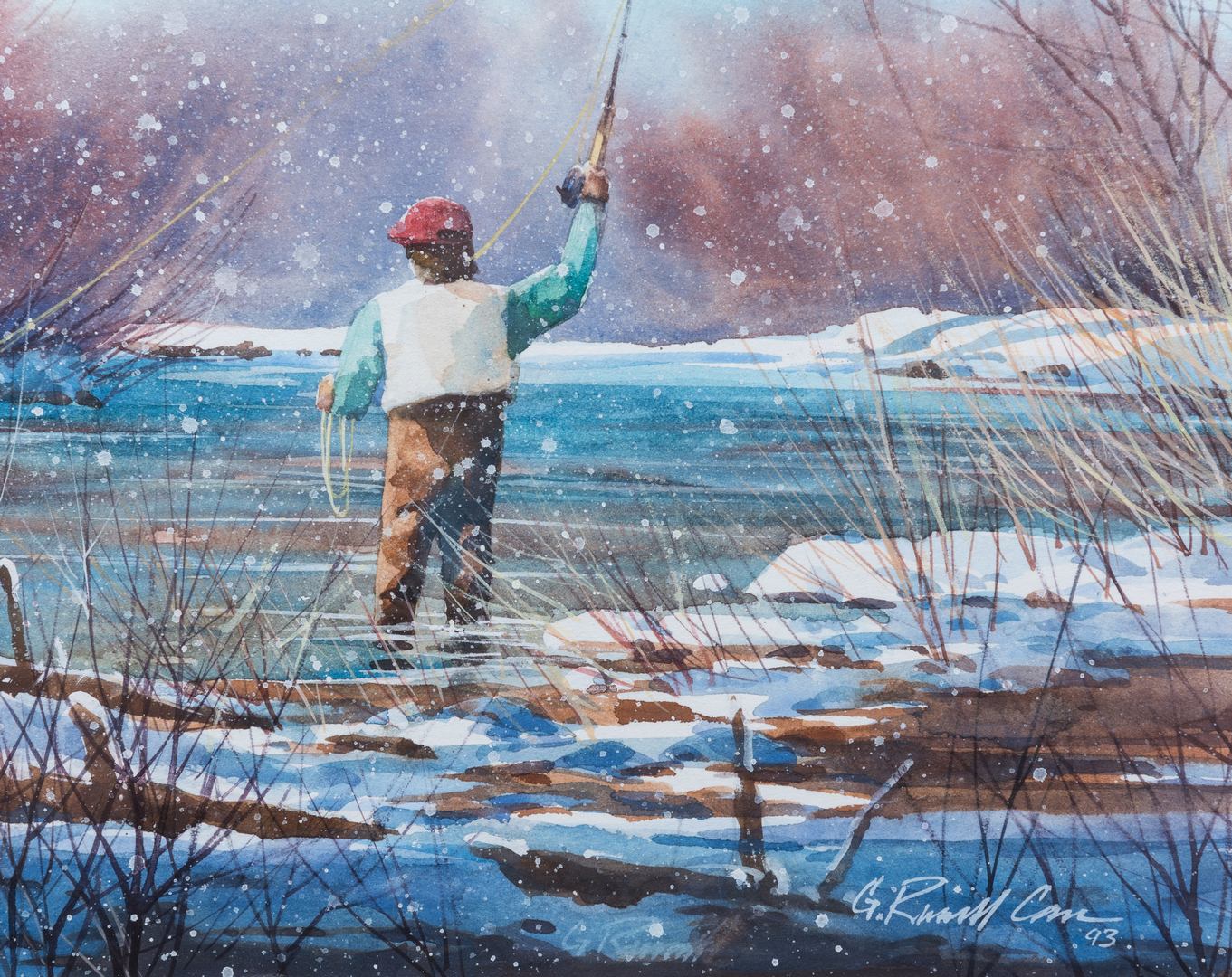 Lot 408 G Russell Case Watercolor Fly Fishing Scene