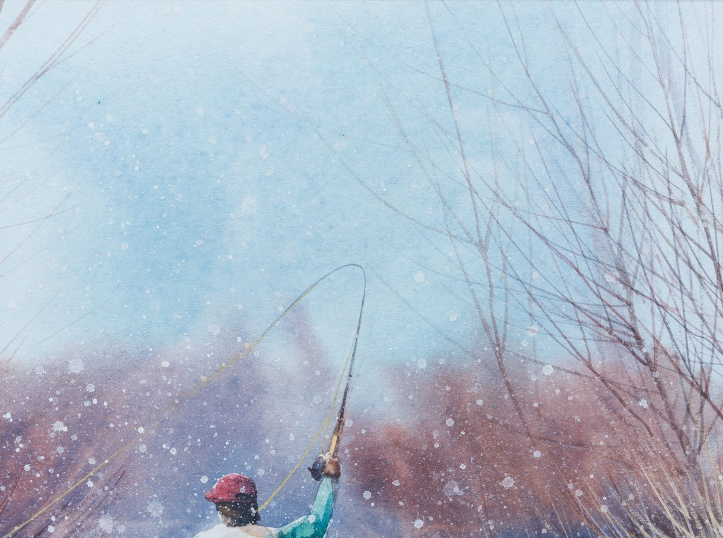 Lot 408: G. Russell Case Watercolor, Fly Fishing Scene