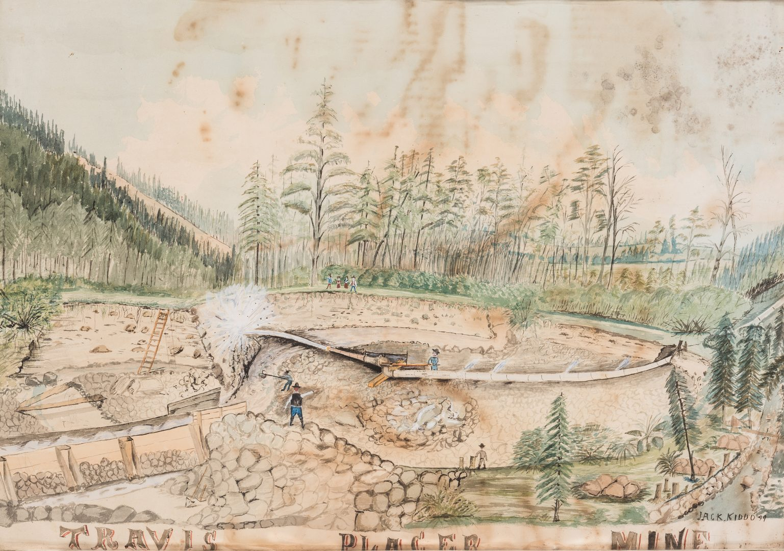 Lot 411: Pair of Historical Gold Mine Watercolors