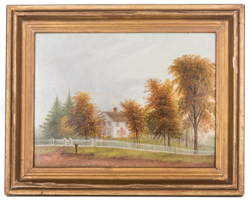 Lot 414: Landscape Oil on Board, New York Homestead