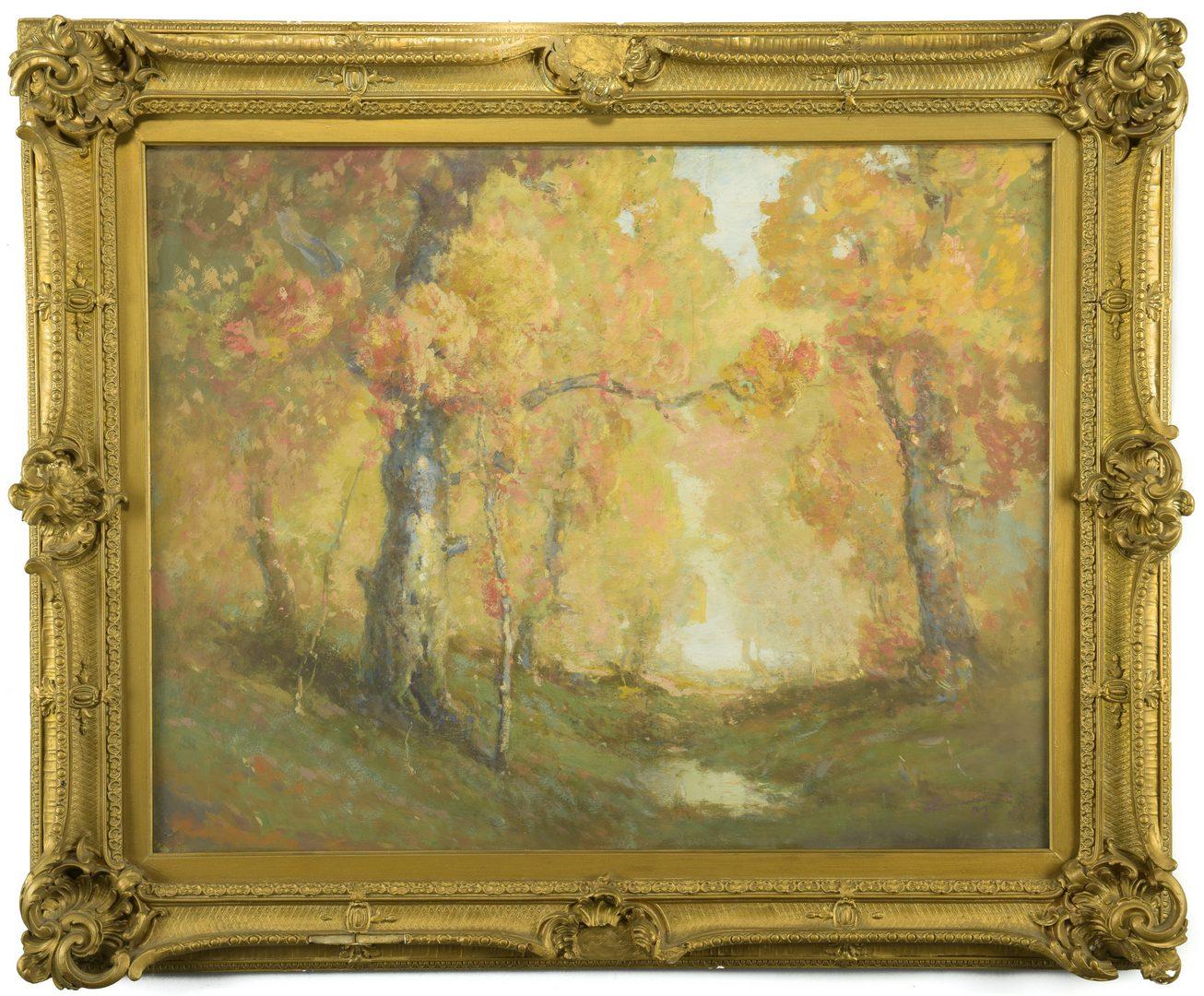 Lot 416: William C. Emerson landscape, tempera on board