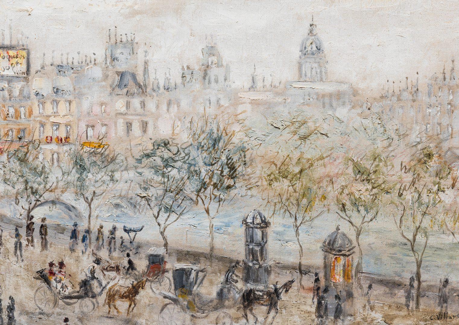 Lot 419: Cesar Villacres, O/C, Parisian Street Scene