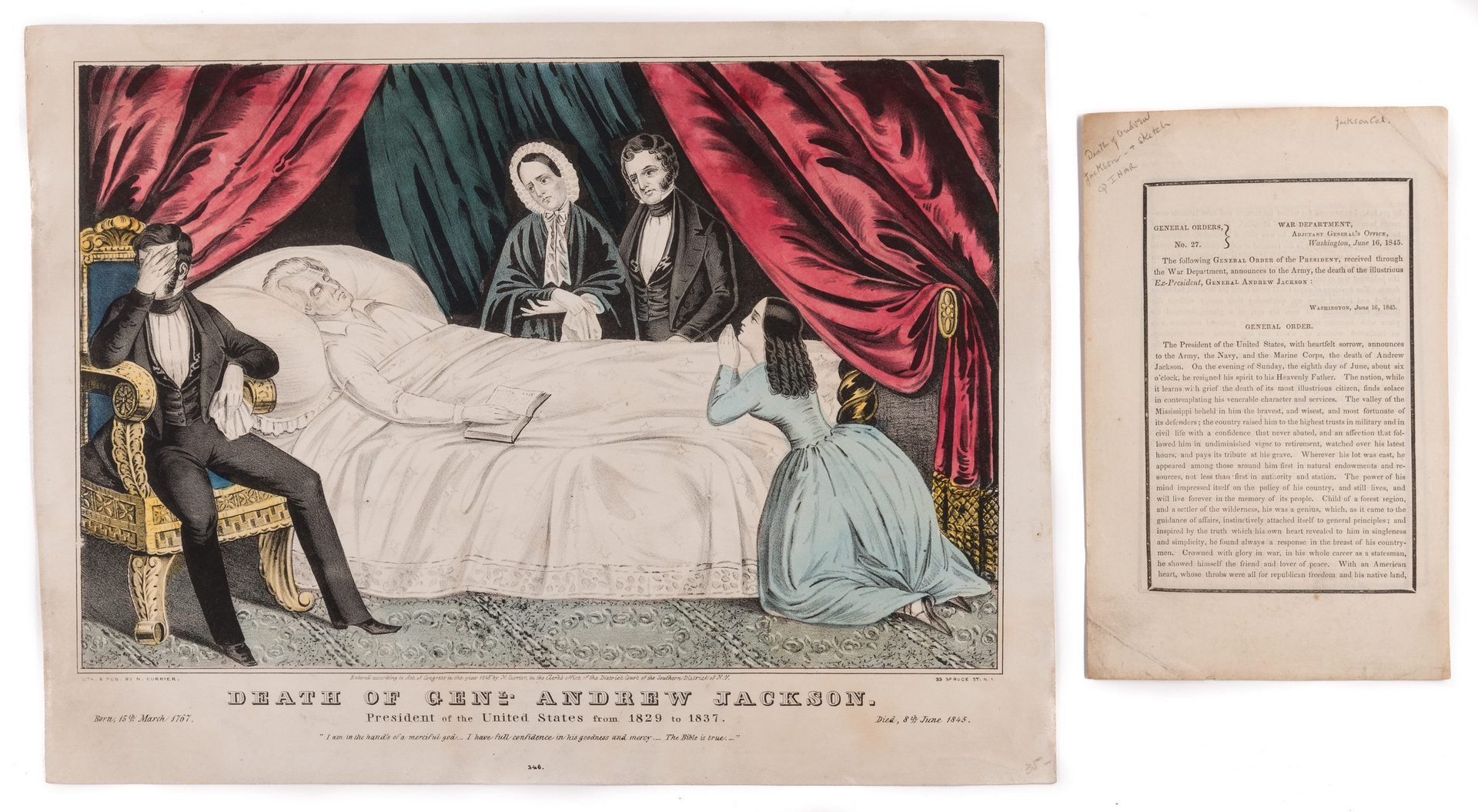 Lot 429: Andrew Jackson Death Broadside and Print, 2 items
