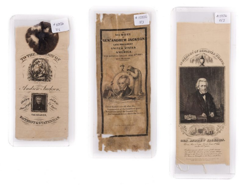 Lot 432: 3 Andrew Jackson Ribbons