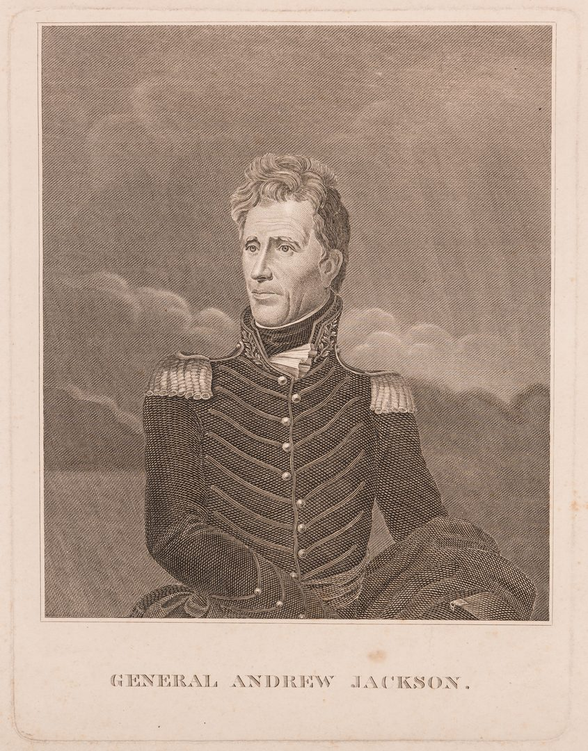 Lot 437: Rare Andrew Jackson engraving after Vanderlyn