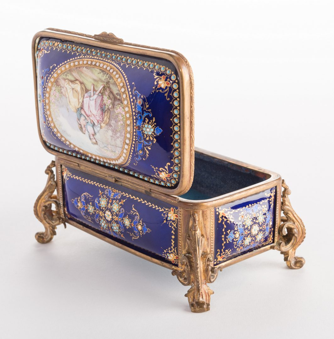 Lot 44: French Gilt Bronze Enamel Box, 19th c.