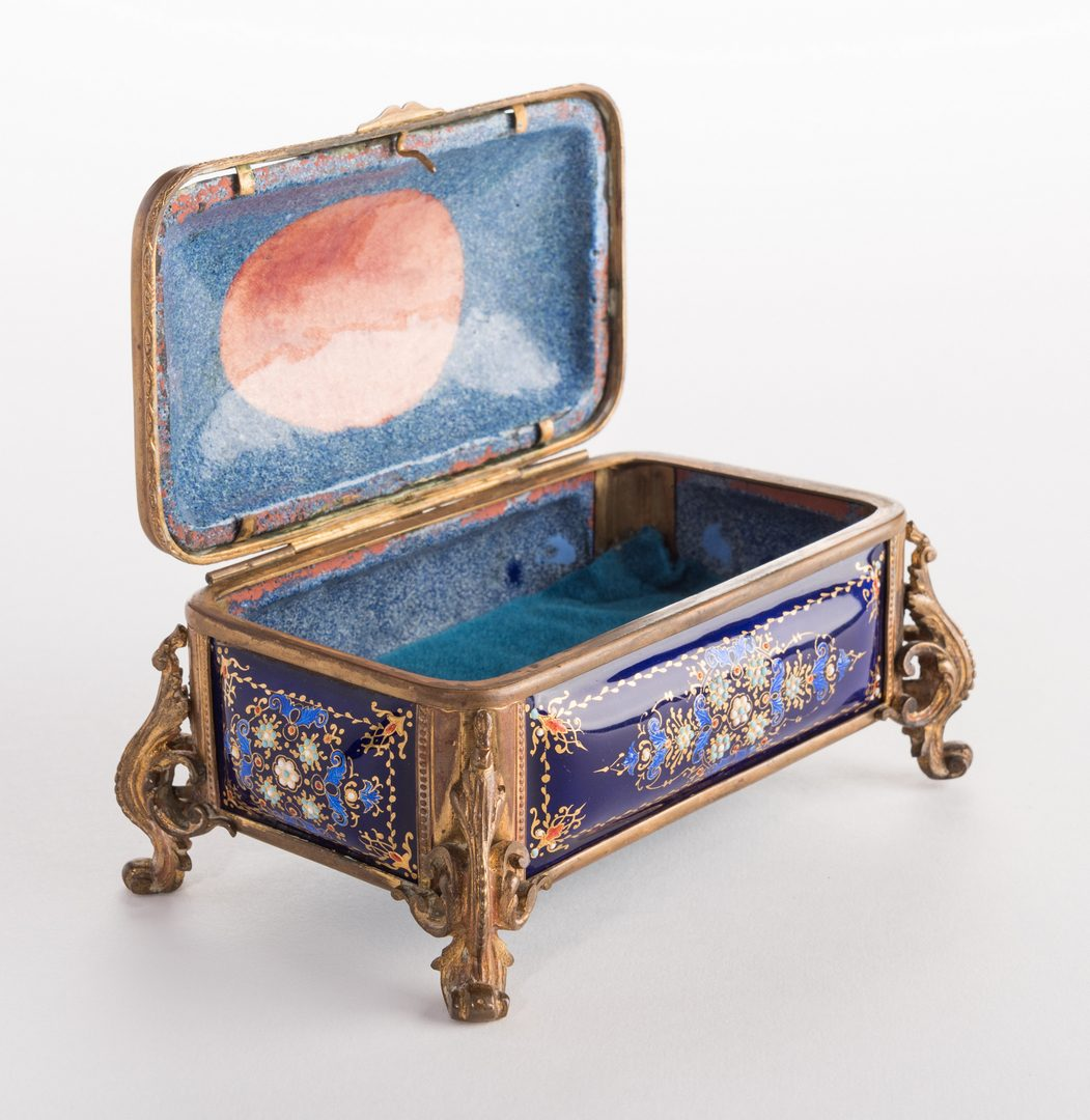 Lot 44: French Gilt Bronze Enamel Box, 19th c.