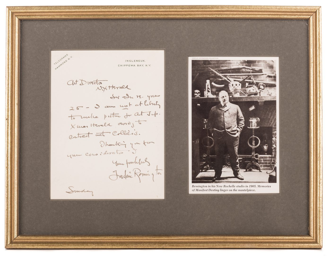 Lot 457: Frederic Remington Letter & Book, 2 items