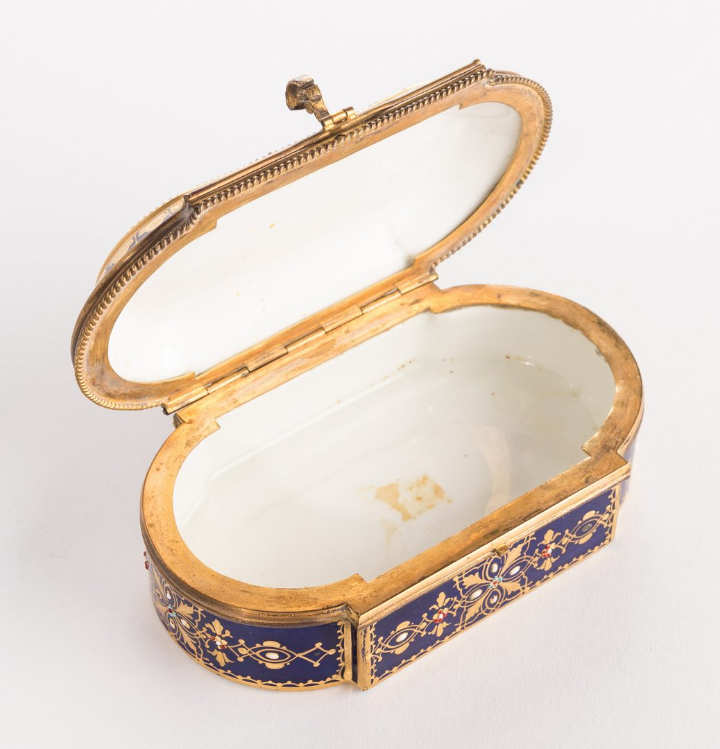 Lot 45: 19th c. French Enamels: Box & Tray