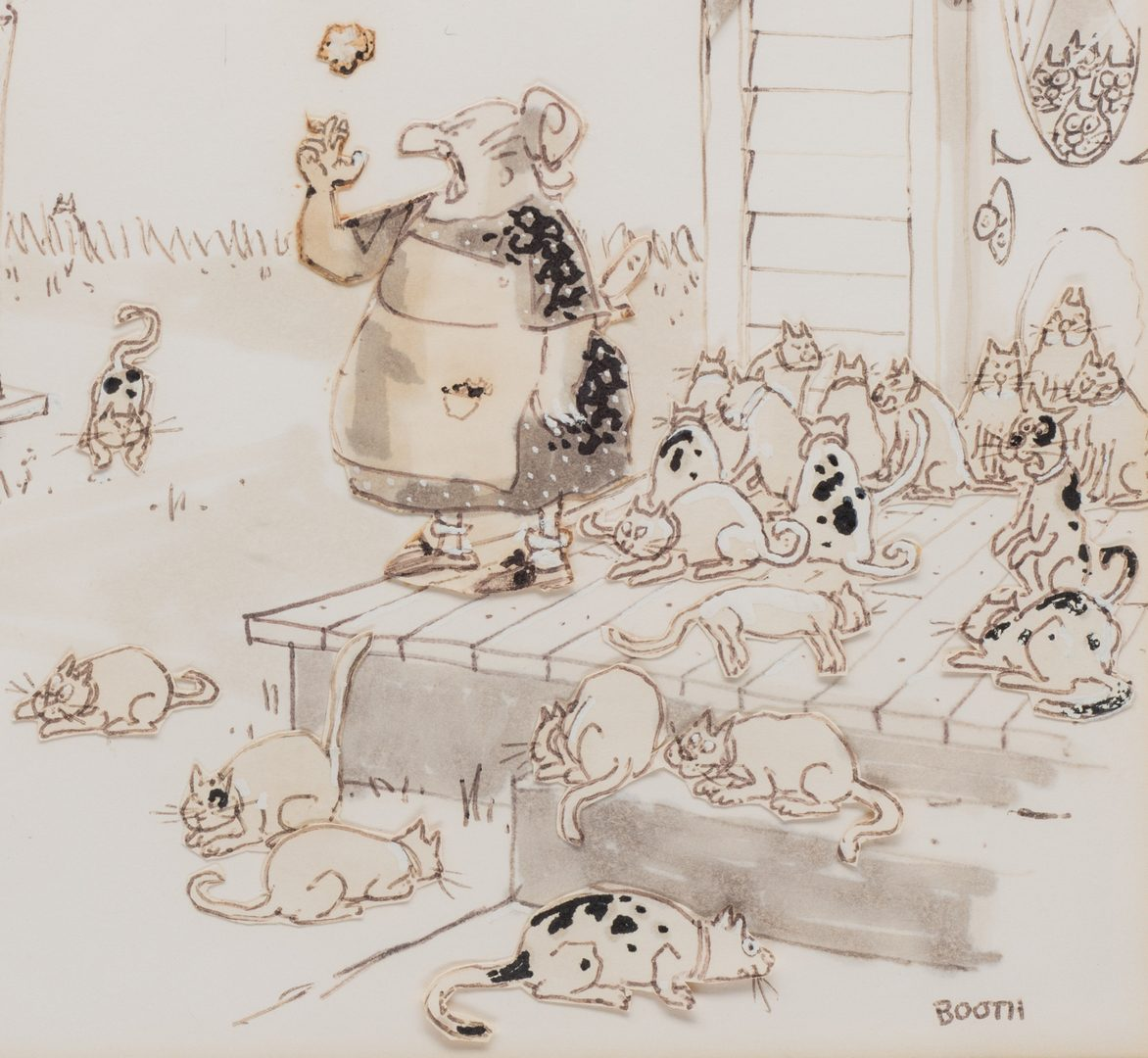 "Lot 467: George Booth original illustration for New Yorker, ""Let's Swap Some Cats"""
