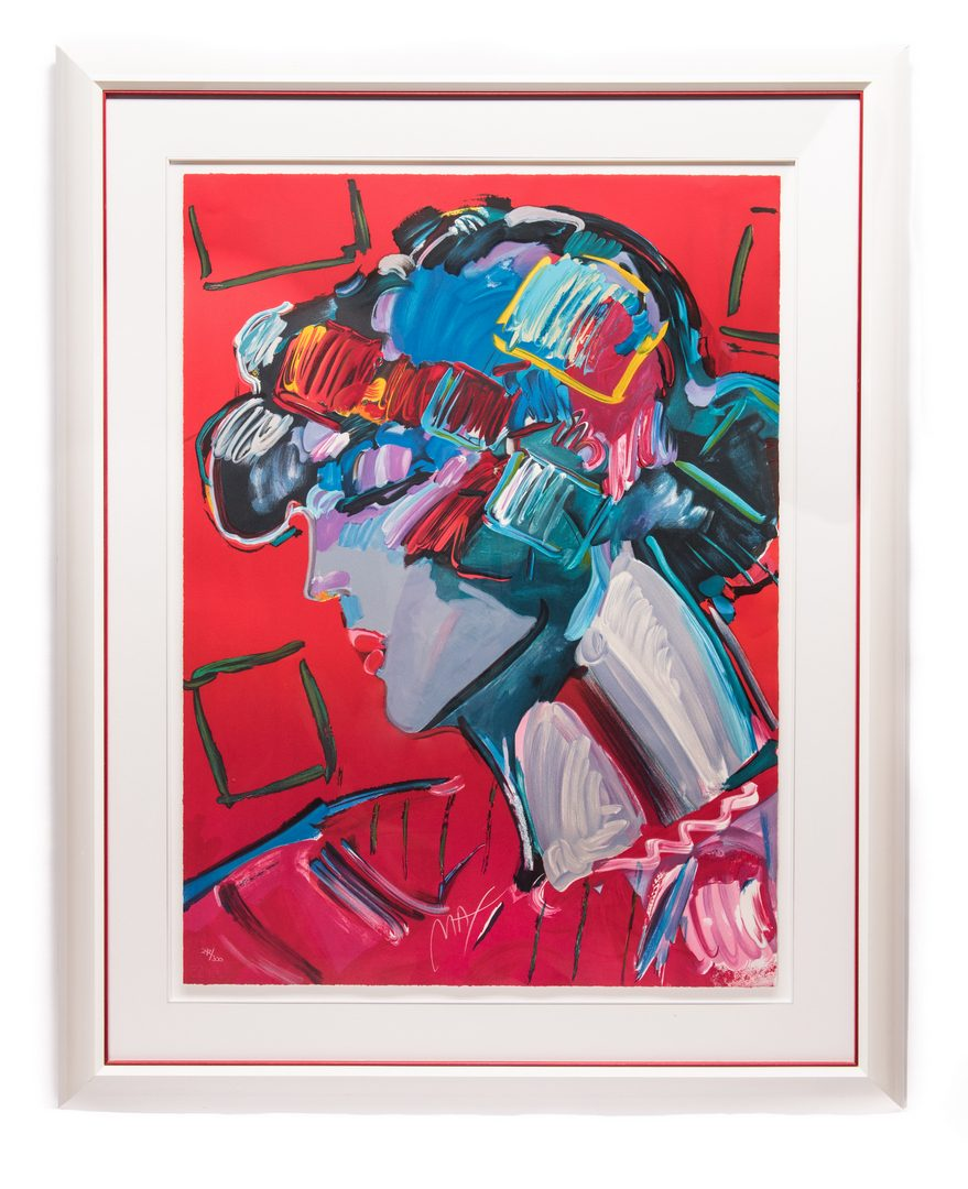 Lot 469: Peter Max Colored Lithograph, Crimson Lady