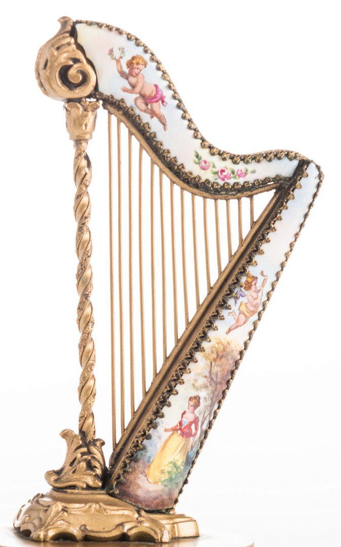 Lot 46: Viennese Enamel Harp Music Box