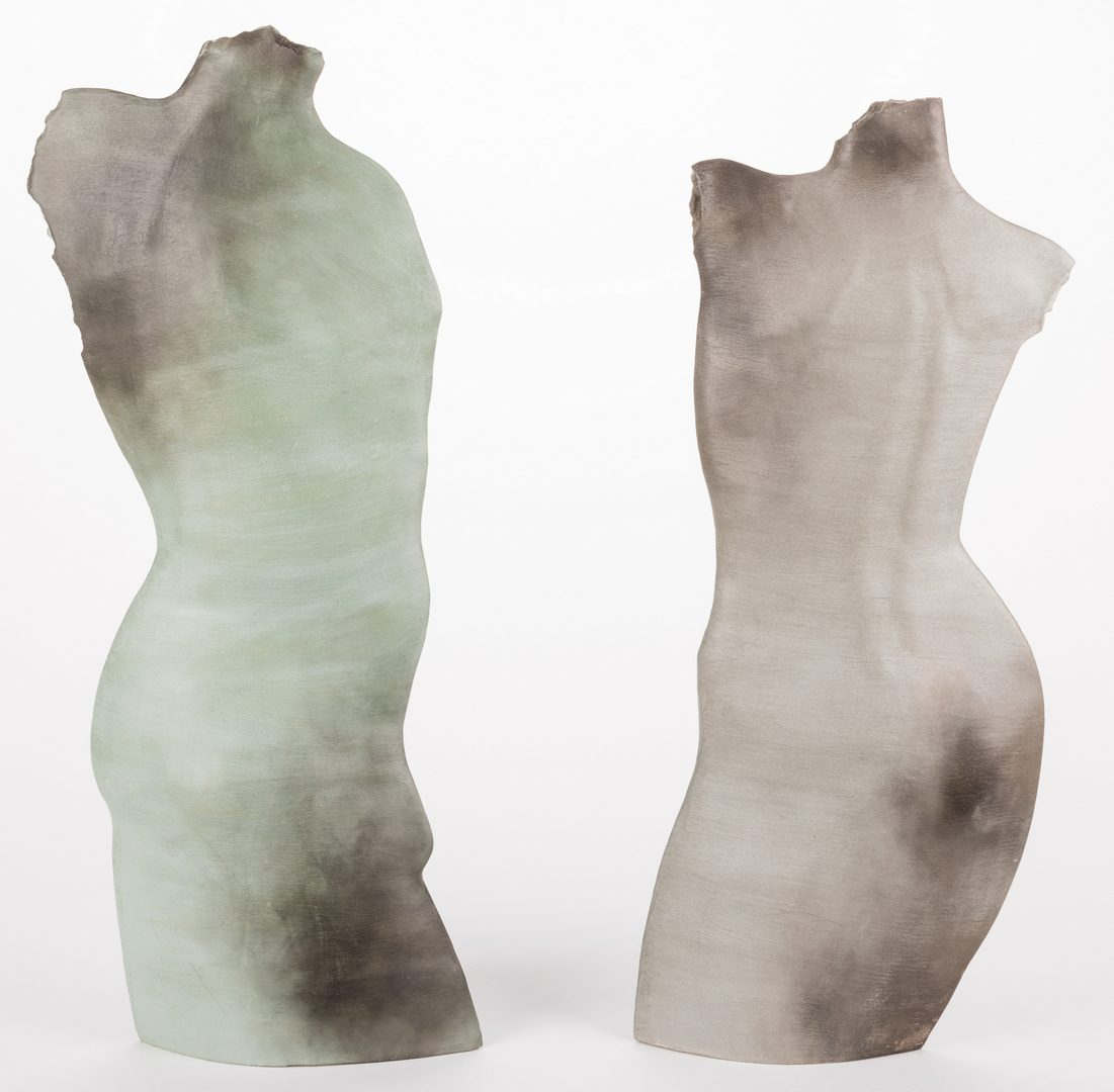 Lot 485: Two (2) Christie Brown Sculptures, Male and Female Torsos