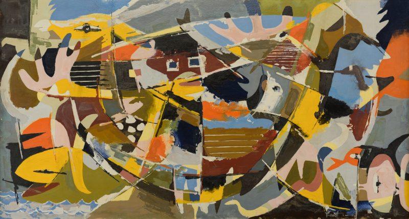 Lot 490: Ted Burnett Cubist Painting, Noah's Ark