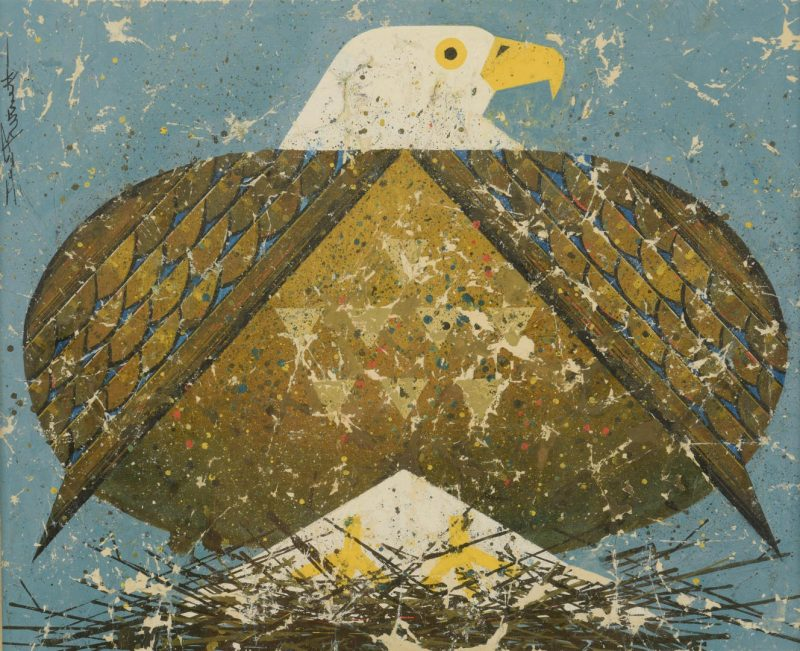 Lot 491: Ted Burnett Painting, American Eagle