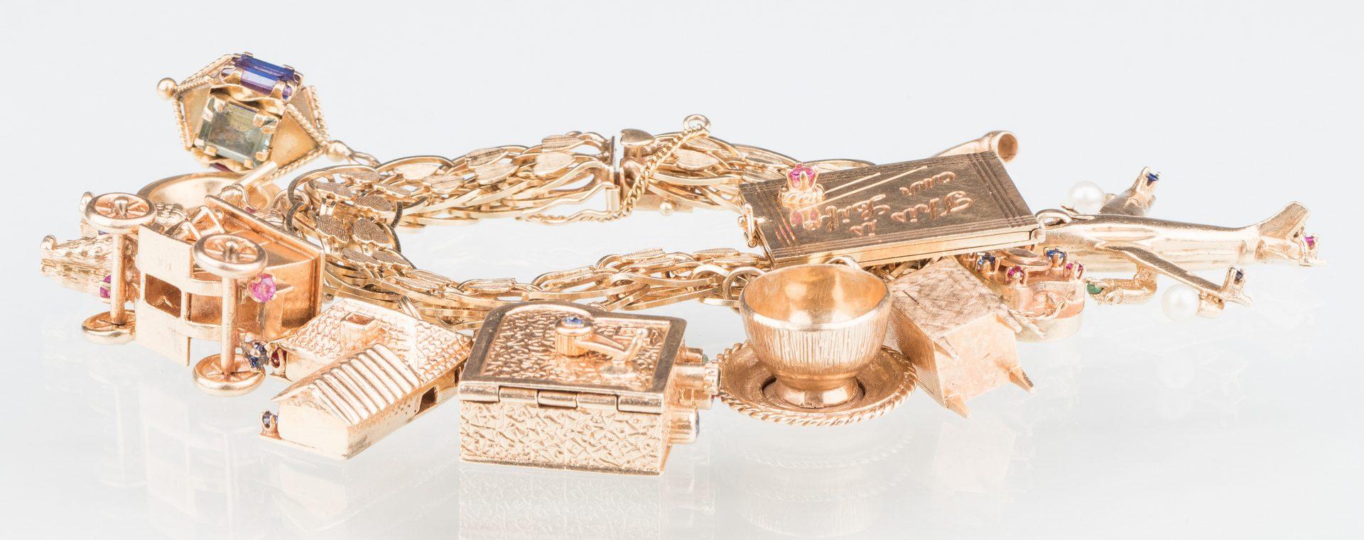Lot 49: 14K Vintage Charm Bracelet, 126 grams