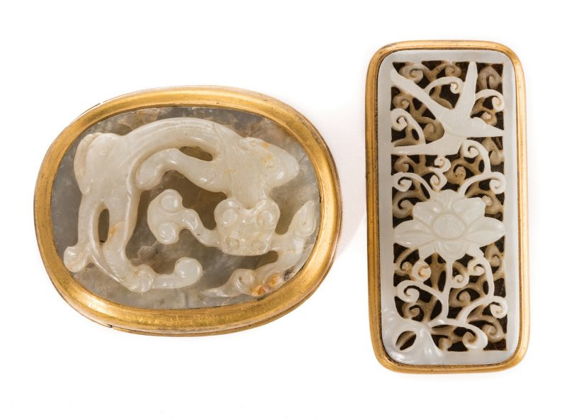 Lot 4: 2 Chinese Jade & Gilt Bronze Belt Ornaments