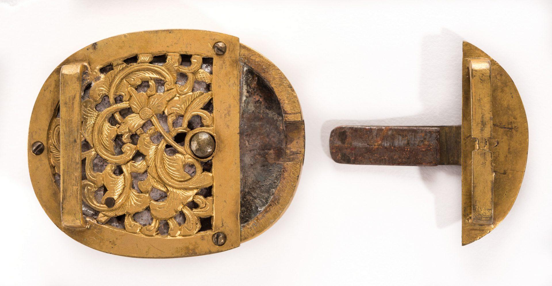 Lot 4: 2 Chinese Jade & Gilt Bronze Belt Ornaments