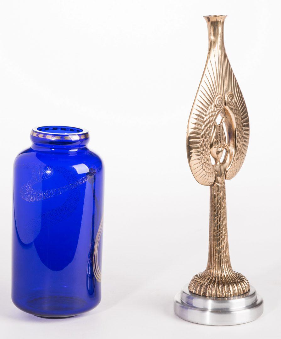 Lot 504: Erte Angel Candlestick & Fireflies Vase, 2 items
