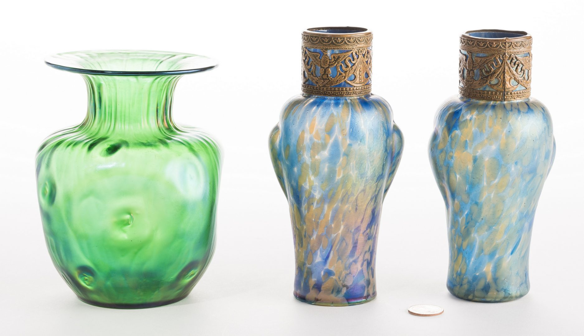 Lot 517: Attr. Loetz or Kralik Art glass Group, 3 pcs