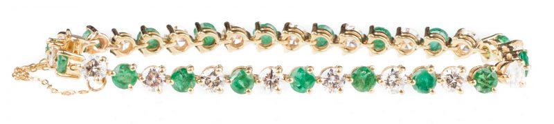 Lot 51: 18K Emerald & Diamond Bracelet