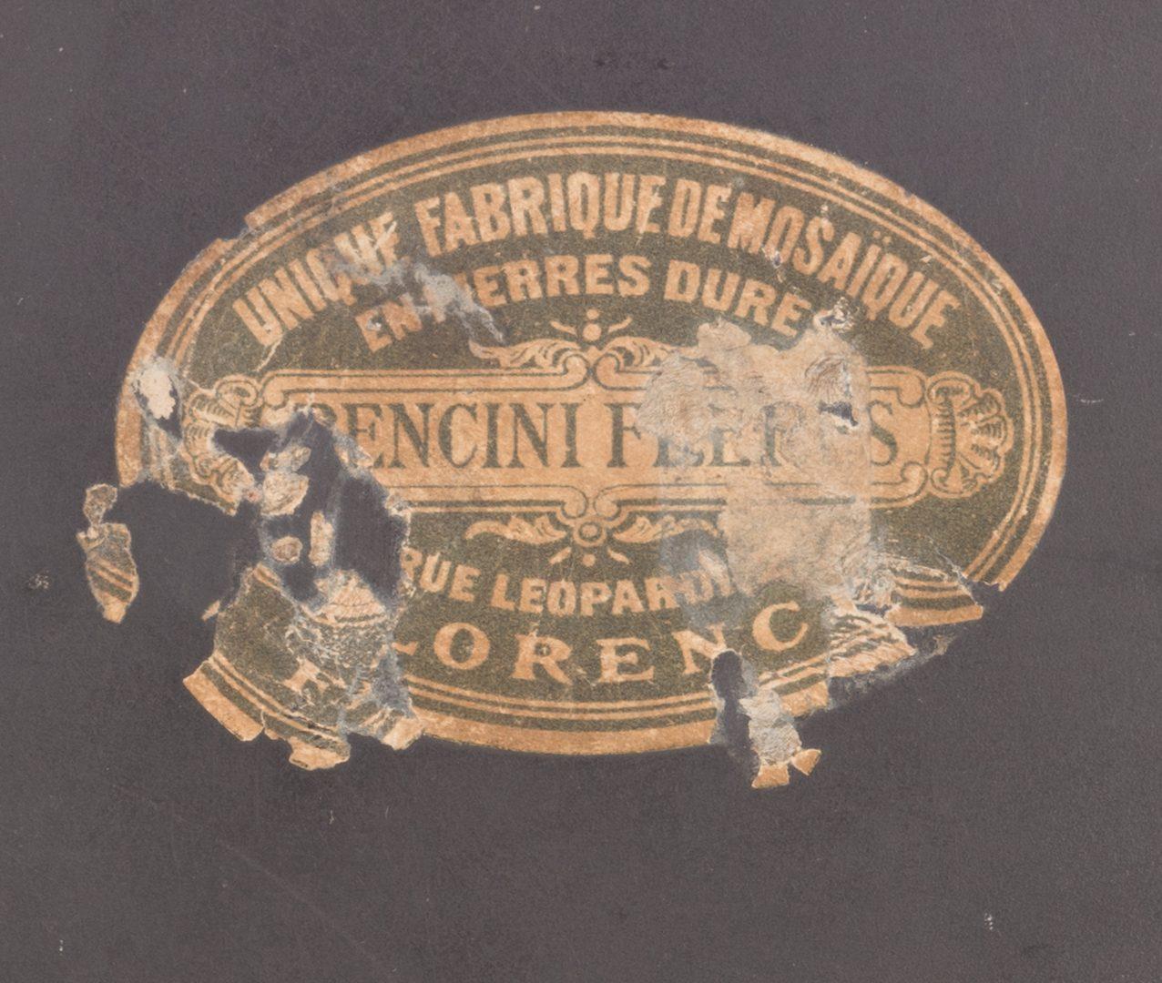 Lot 522: Bencini Freres Pietra Dura Plaque