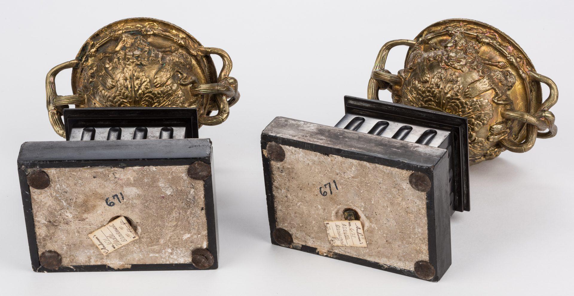 Lot 524: Pair Parcel Gilt Garniture Urns