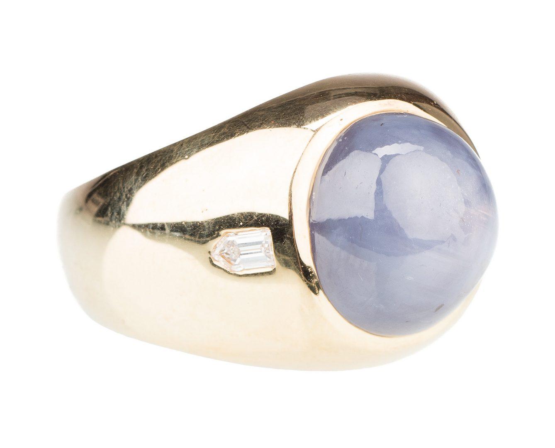 Lot 532: Art Deco 18K Gents Star Sapphire Ring