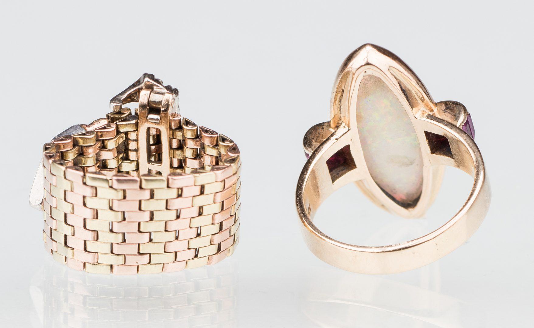 Lot 533: 2 Vintage 14K Rings inc. Buckle Ring