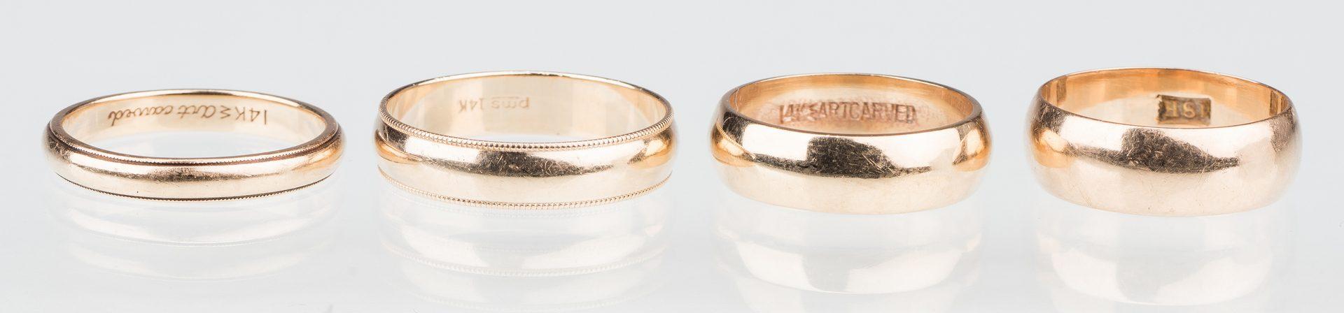 Lot 534: 4 gold wedding bands, 14K & 18K