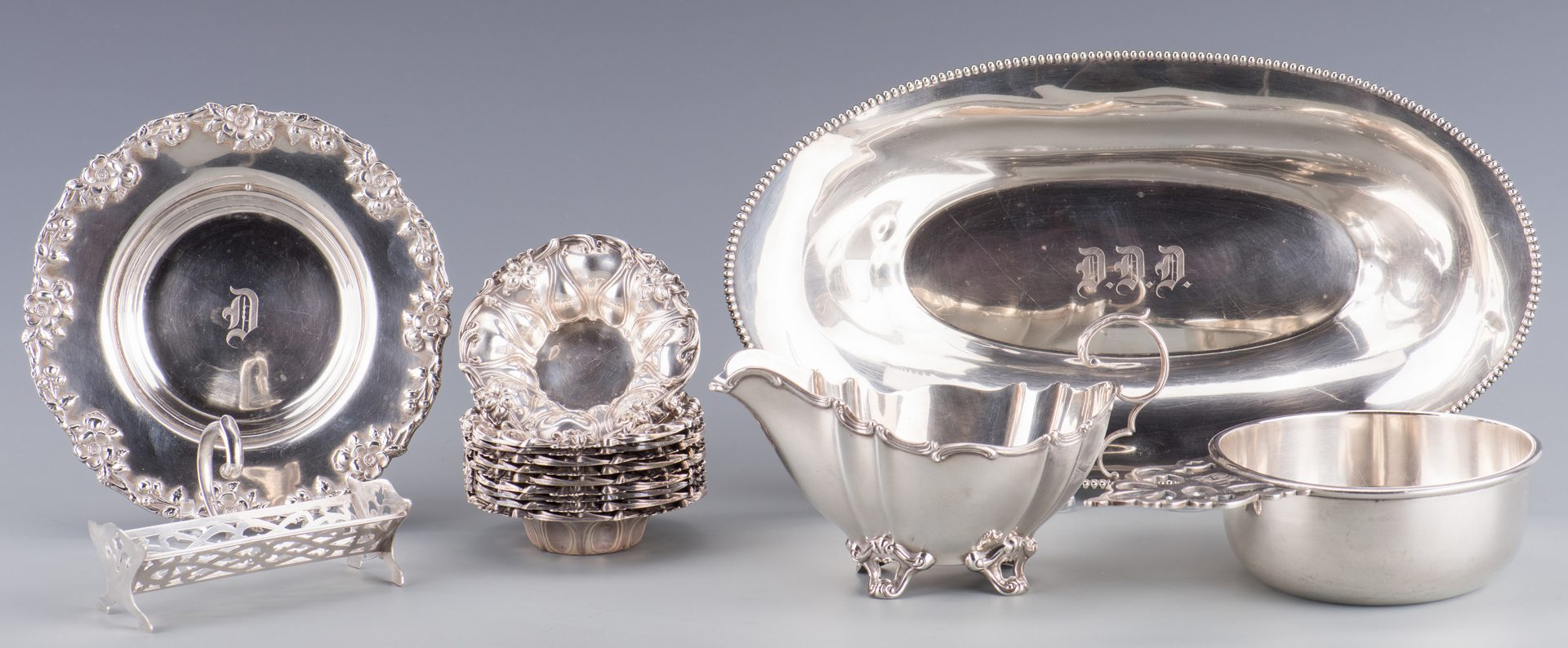 Lot 546: Mixed Sterling Silver Hollowware, 16 pcs