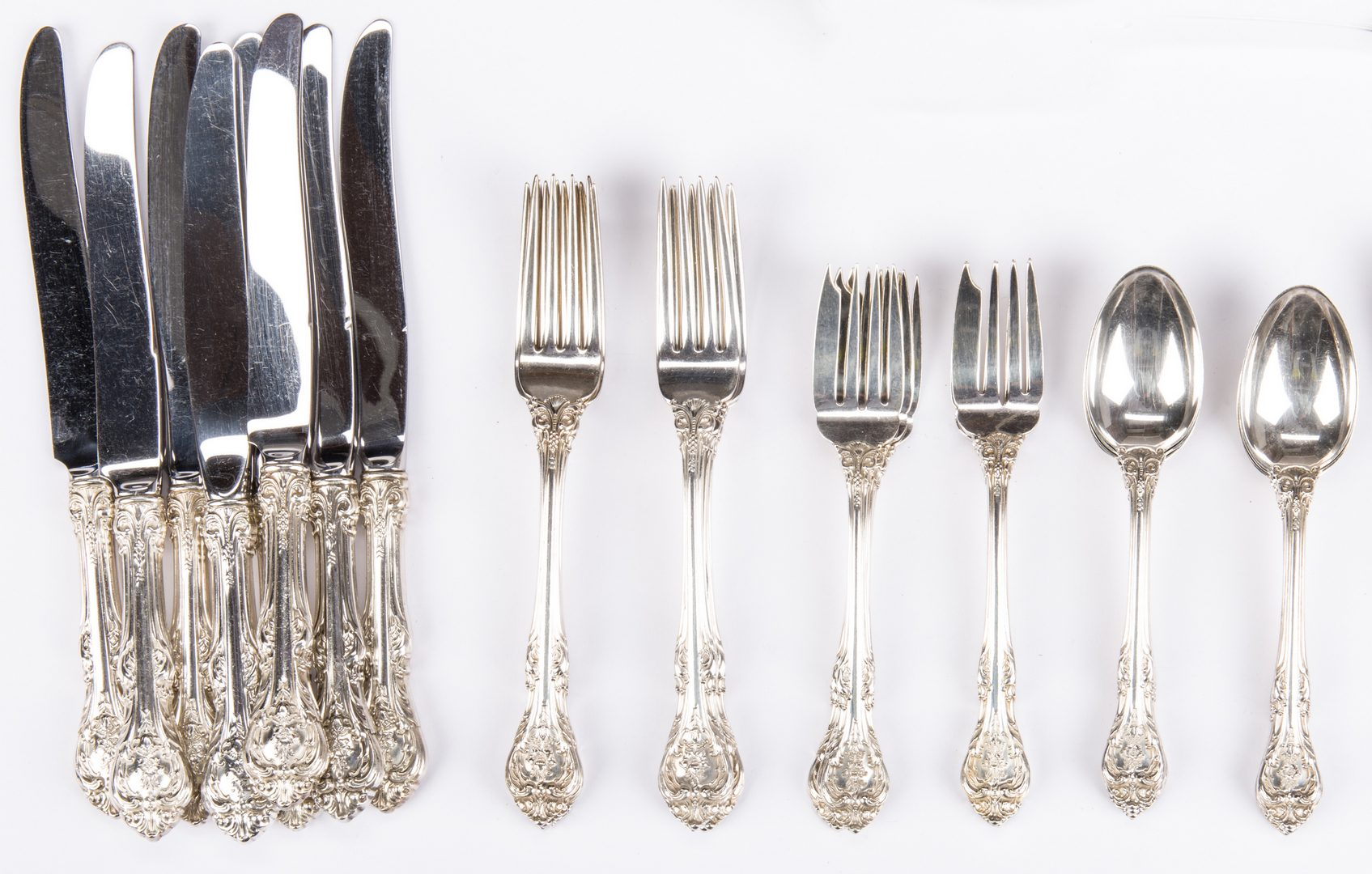 Lot 549: 44 Pieces Silver Flatware inc. Gorham King Edward