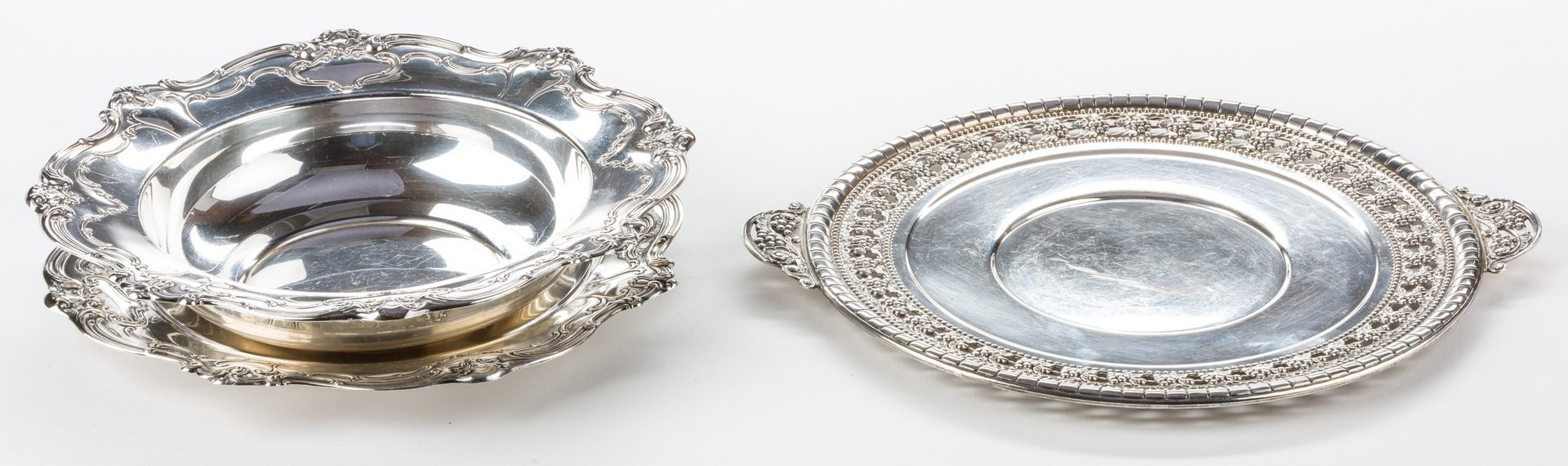 Lot 551: Sterling Bowl, Plate and Tray, Chantilly Duchess and Nordic patterns