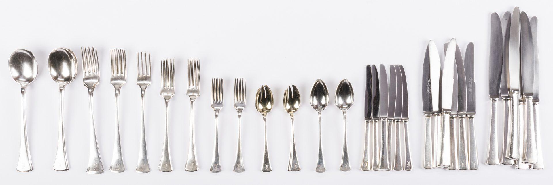 Lot 553: 57 Pieces Silver including Art Deco Continental Flatware Set