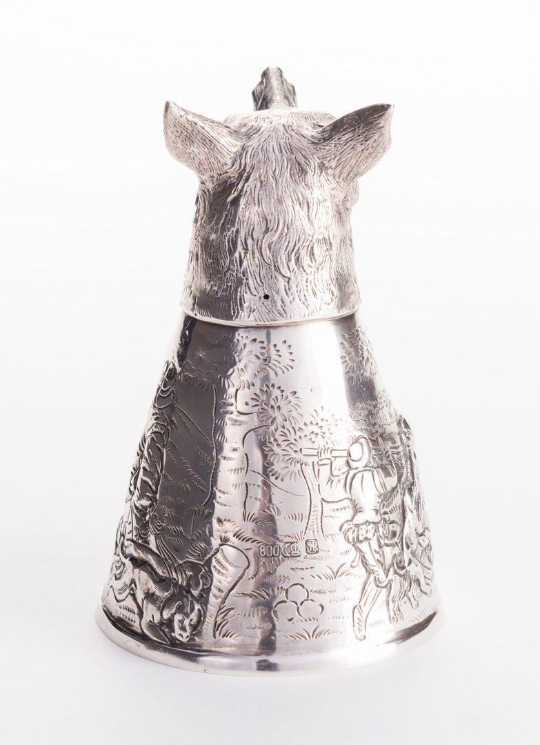 Lot 557: Wolf Head German Silver Stirrup Cup