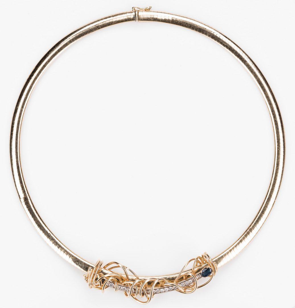 Lot 55: Omega 14K Necklace w/ Dia/SA slide