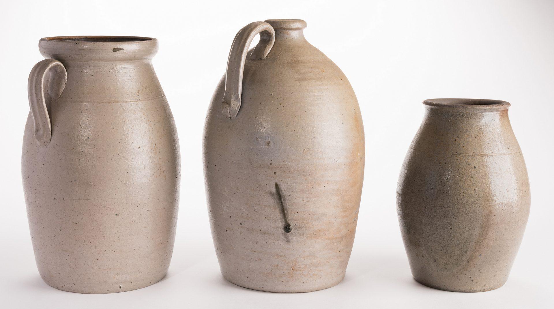 Lot 560: 3 Middle TN Stoneware Items, 2 Jars & 1 Jug