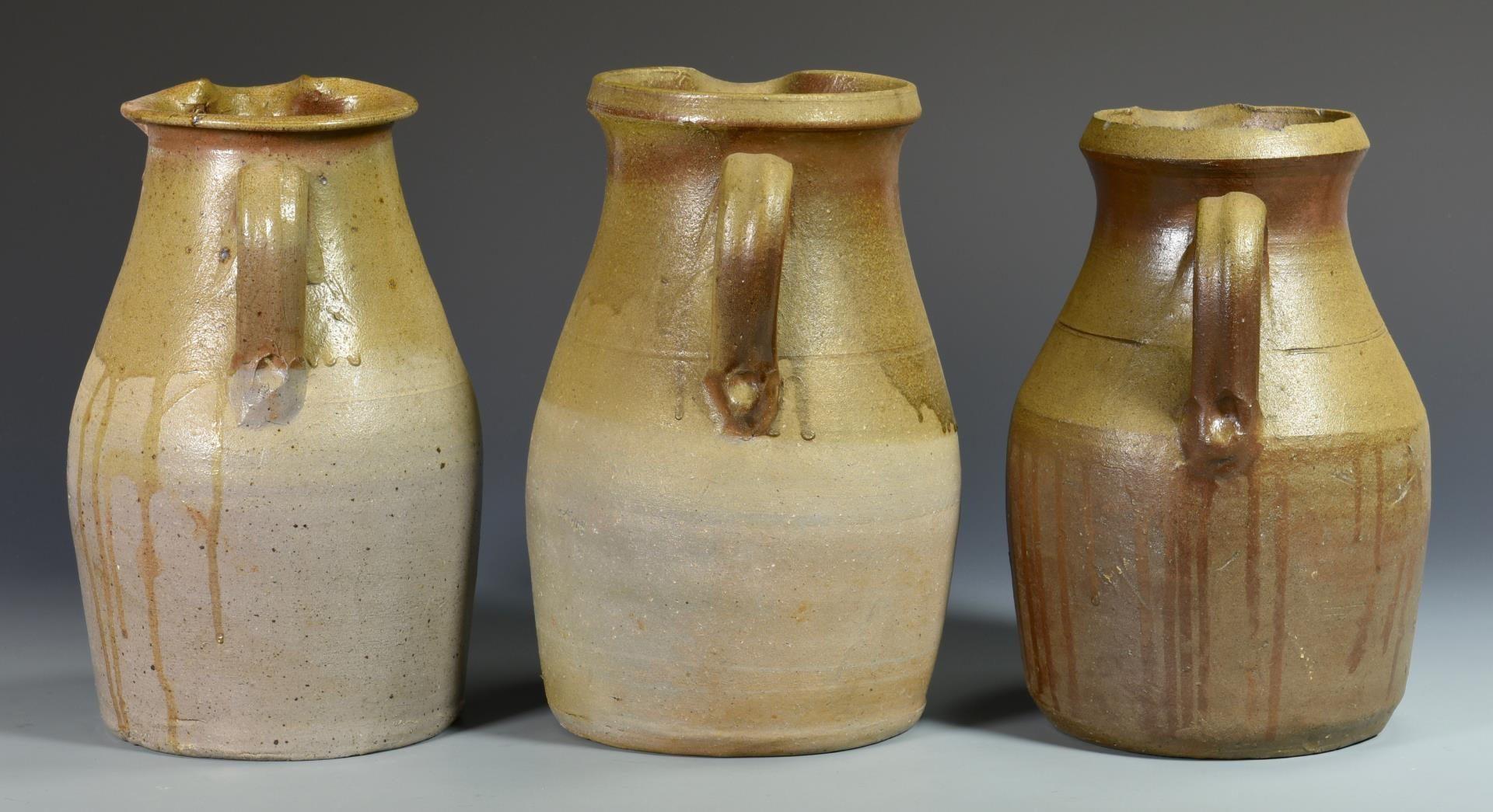 Lot 562: 3 Middle TN Stoneware Pitchers