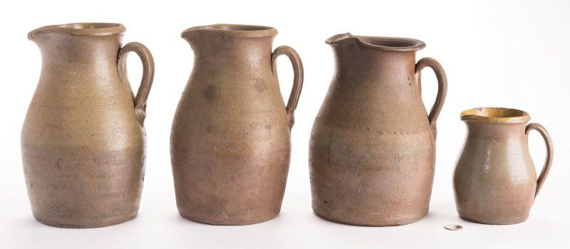 Lot 565: 4 Middle TN Stoneware Pitchers