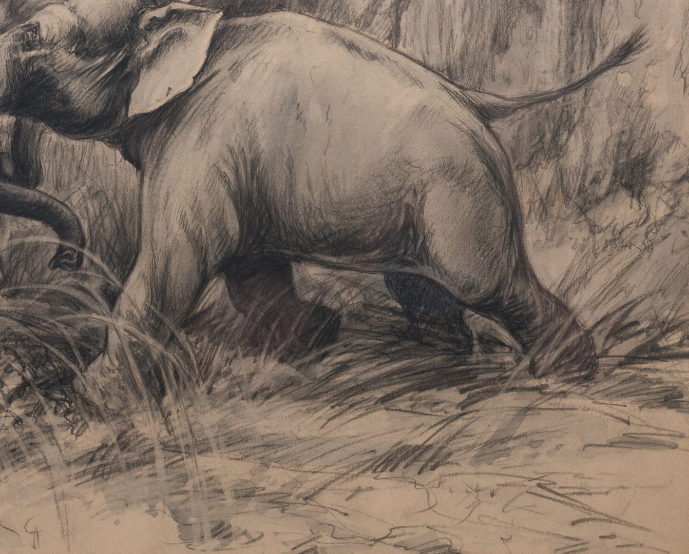 Lot 571: Morgan Stinemetz drawing, elephants