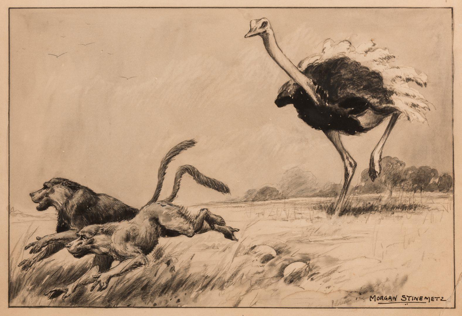 Lot 572: Morgan Stinemetz drawing, ostrich