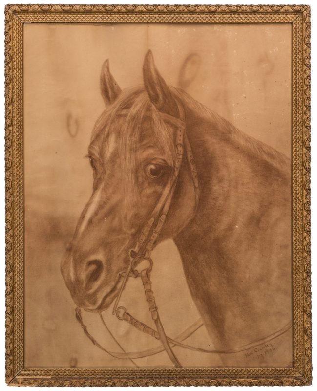 Lot 575: Ida Crawley Charcoal Drawing of a Horse