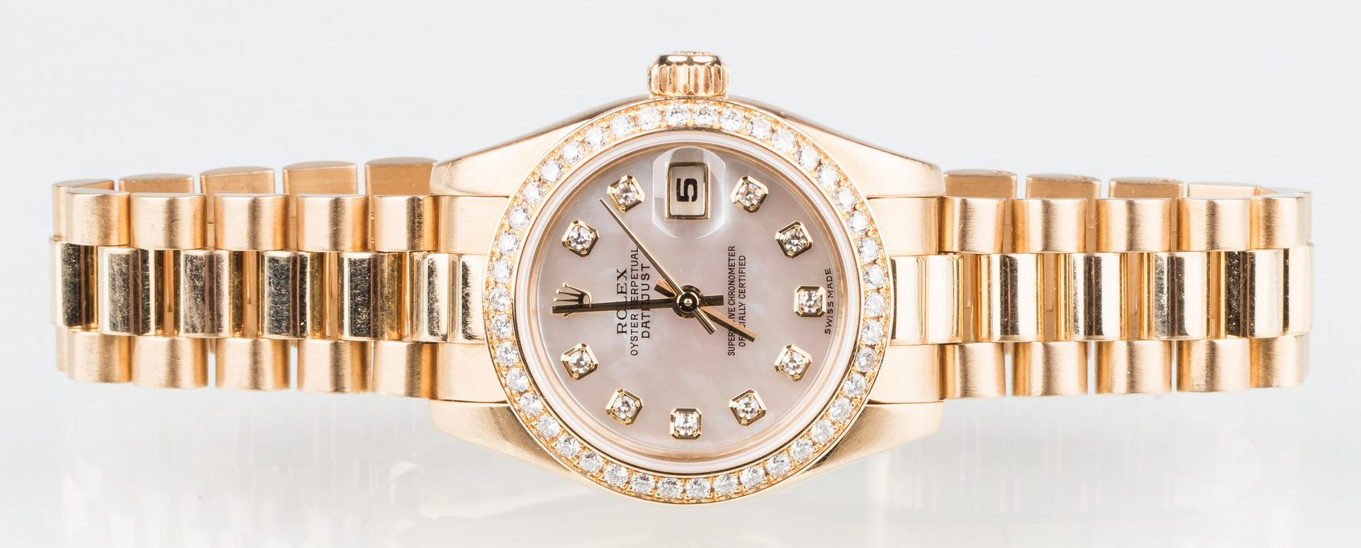 Lot 57: Ladies all 18K Rolex Datejust Diamond Watch