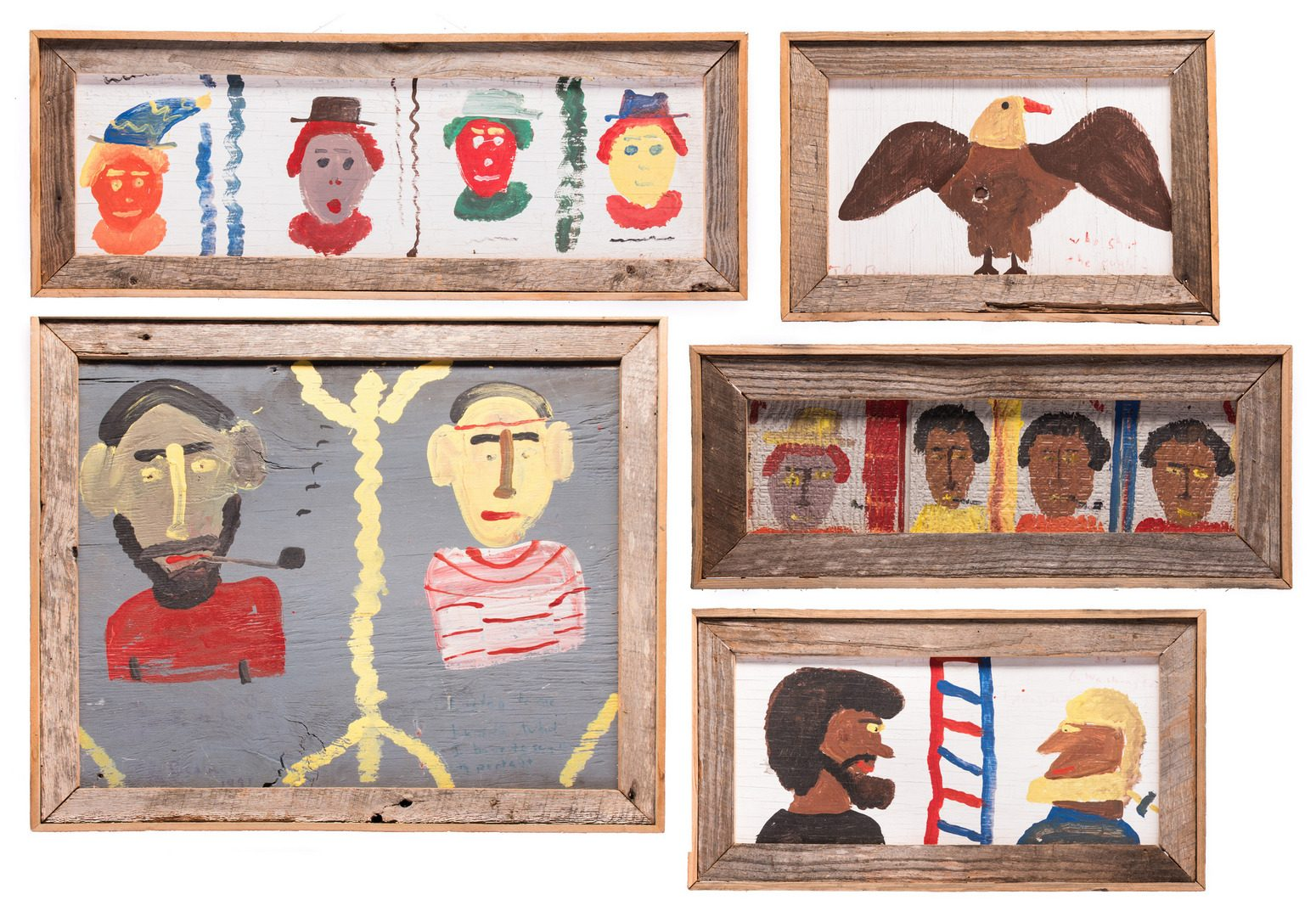 Lot 591: 5 Robyn Beverland Folk Art Paintings