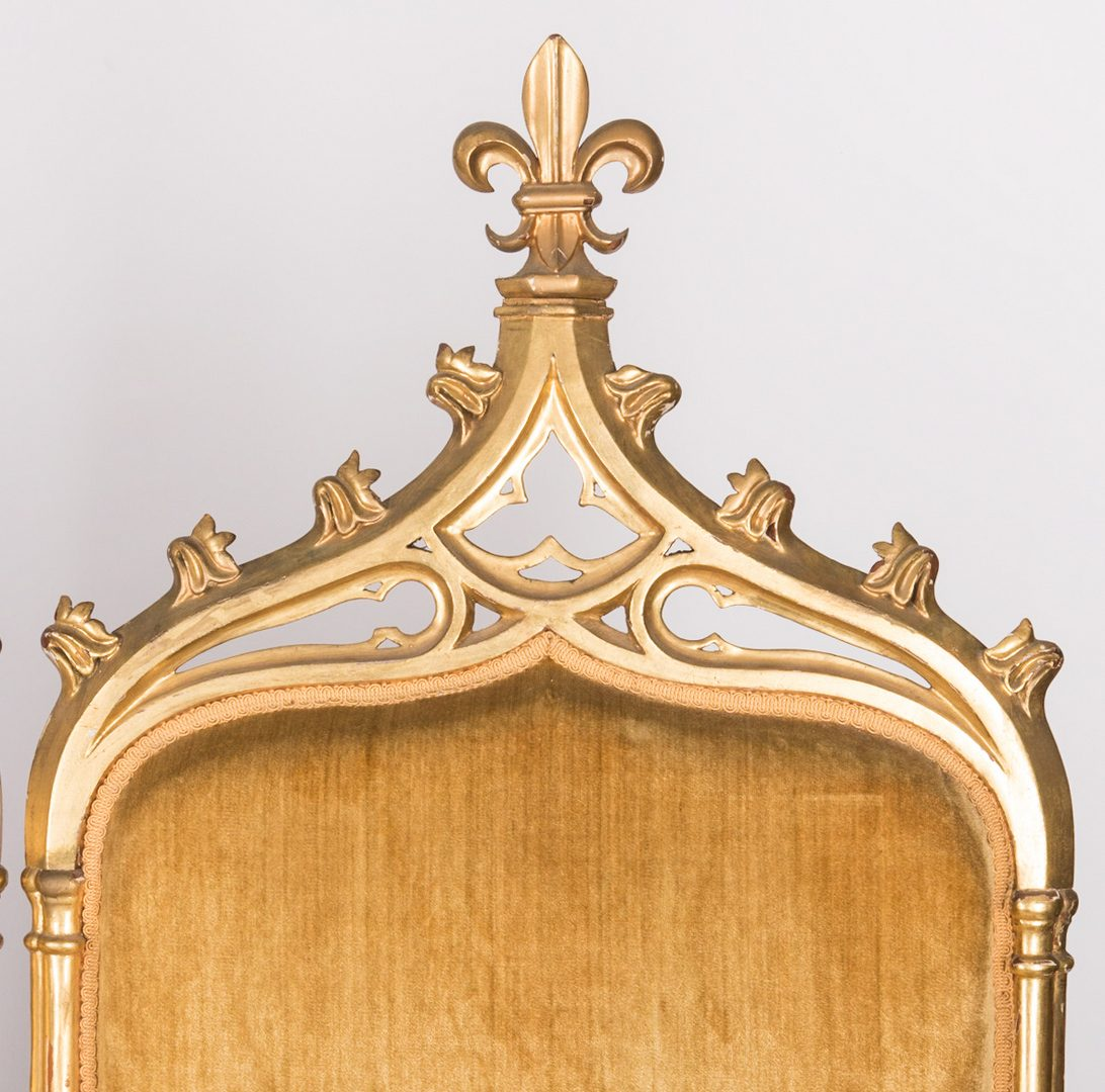 Lot 597: American Gothic Revival Gilt Settee