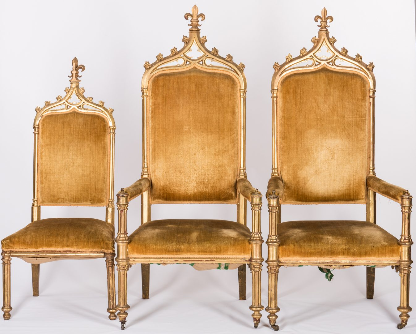 Lot 598: 3 American Gothic Revival Gilt Chairs