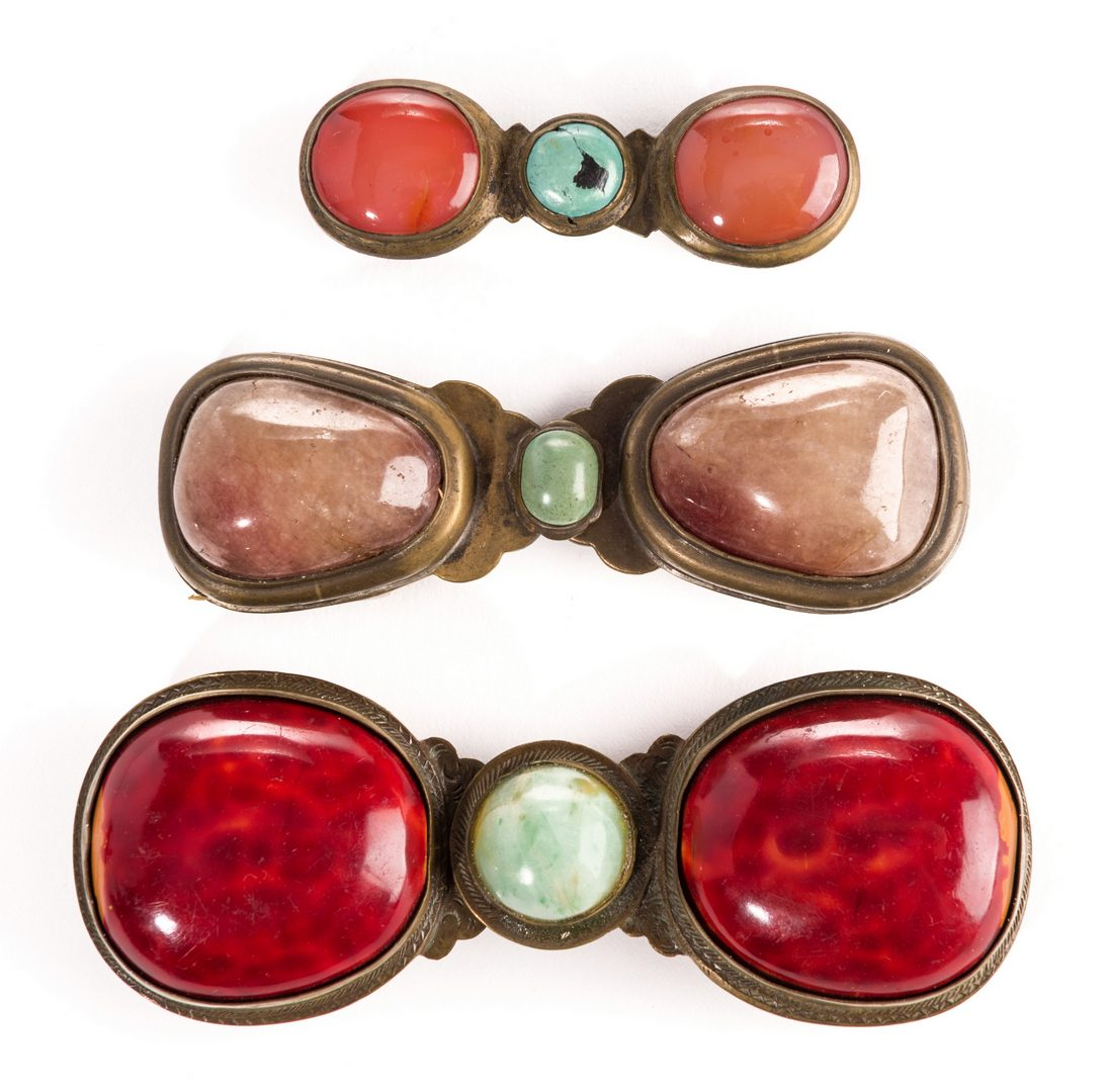 Lot 5: 3 Chinese Agate and Gilt Bronze Belt Buckles