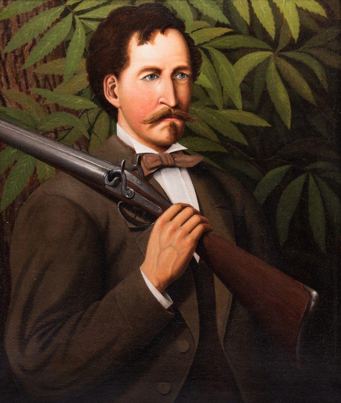 Lot 608: Portrait of a Man with Shotgun, o/c