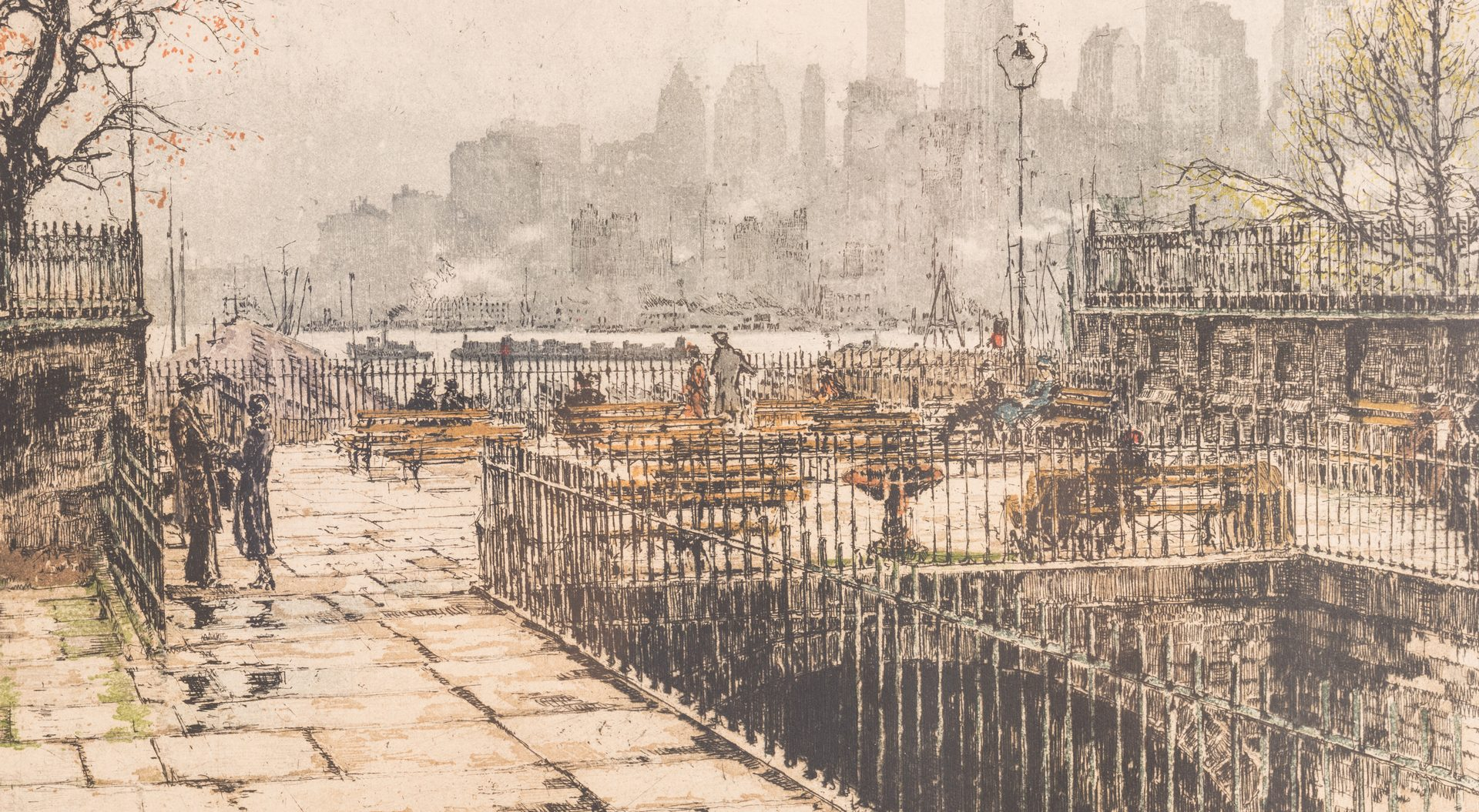 Lot 611: 2 Colored Etchings of New York City, inc. Kasimir
